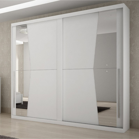 Guarda Roupa Casal Com Espelho 2 Portas De Correr Geom Fd