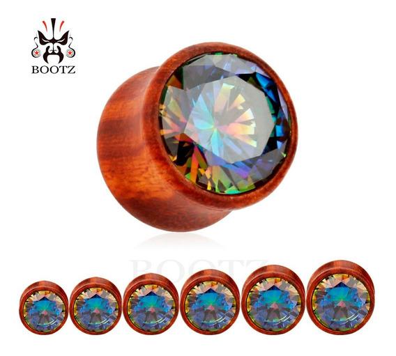 Alargador Madeira Pedra Brilhante - Cada Unidade - 10 A 16mm