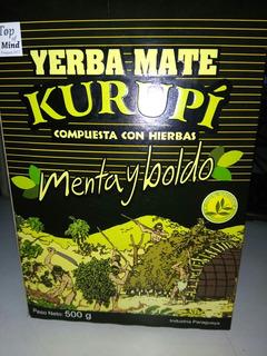 Yerba Mate Kurupi Pak De 12 Paquetes De 500 Gs Menta Y Boldo