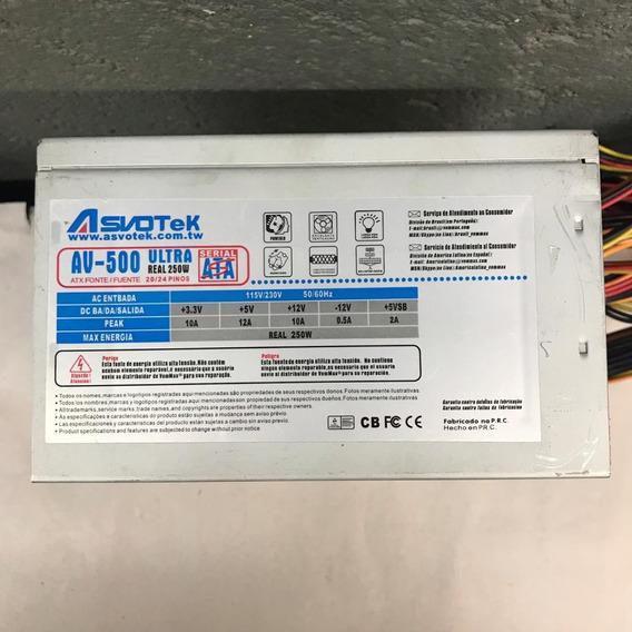 Fonte Nominal Asvotek Model: Av-500 Ultra 24pinos 250w Sata