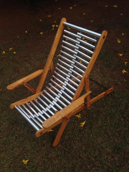 Espreguiçadeira Cadeira Praia Em Madeira E Alumínio