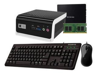 Mini Pc Brix Gigabyte N4000 Ddr4 4gb 120gb + Teclado Y Mouse