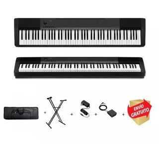 Combo Piano Digital Casio Cdp130 Bk + Pedal Soporte Funda