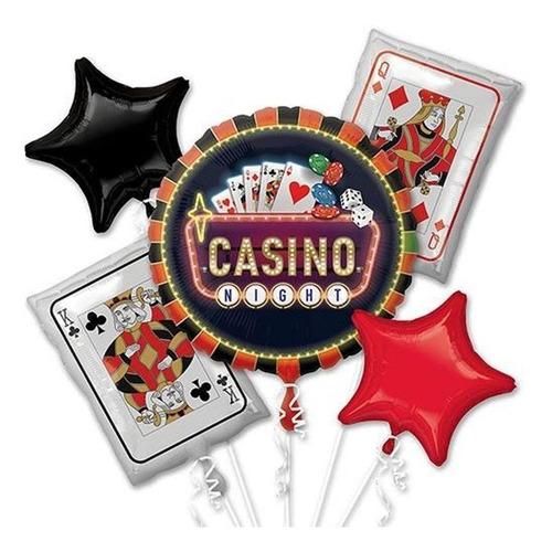 Imagen 1 de 4 de Ramillete Globos Casino Las Vegas Ruleta Fiesta Jumbo Bqt 5p