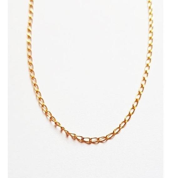 Colar Corrente Groumet De 45cm Em Ouro 18 Quilates