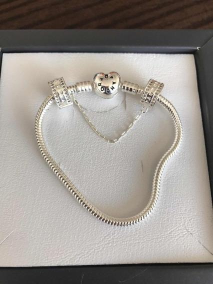 Bracelete Pulseira Brilho Legítima Em Prata 925 Com Trava