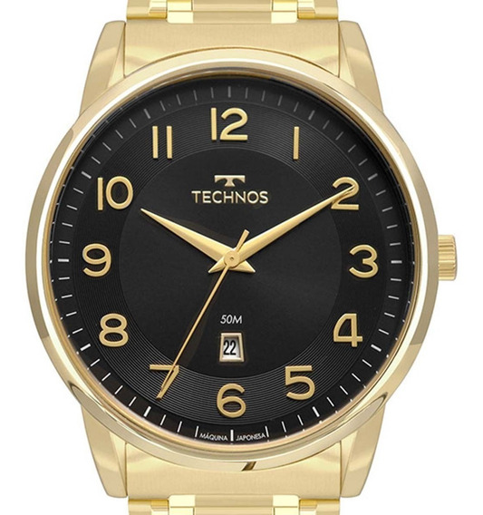 Relógio Technos Masculino Original 2117lbh/4p Dourado + Nota