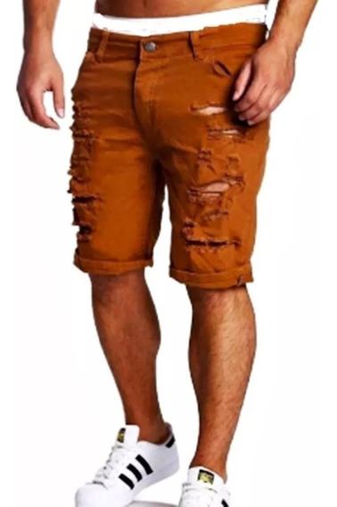 Bermuda Skinny Jeans Masculina Rasgada Desfiada