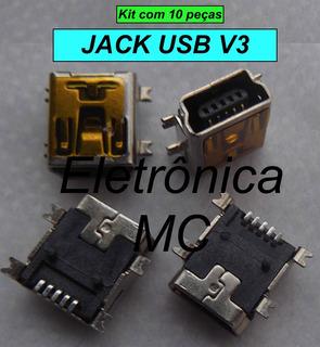 Conector Jack Usb V3 Mini Usb Fêmea 5 Pinos (kit Com 10)