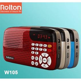 Rádio Rolton W-105 Fm Suporte Cartão Tf Lanterna Música Mp3