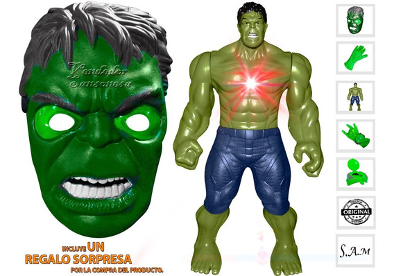 Combo Hulk Muñeco + Mascara Luz Vengadores Diversion