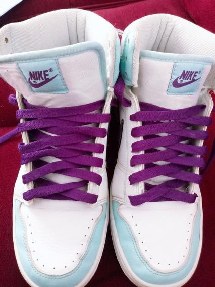 Tênis Nike Nobuk Couro Branco/azul Claro/roxo