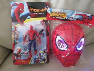 Mascara Spiderman Con Luz + Muñeco Articulado De 15 Cm