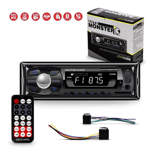 Som Automotivo Radio Bluetooth Usb Leitor Cartão Sd 4x50w