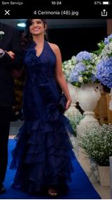 Vestido Azul Tafetá Tam34 A 36
