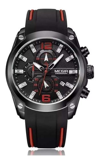 Relógio Megir 2063 Masculino Original Preto Promoção Nf-e