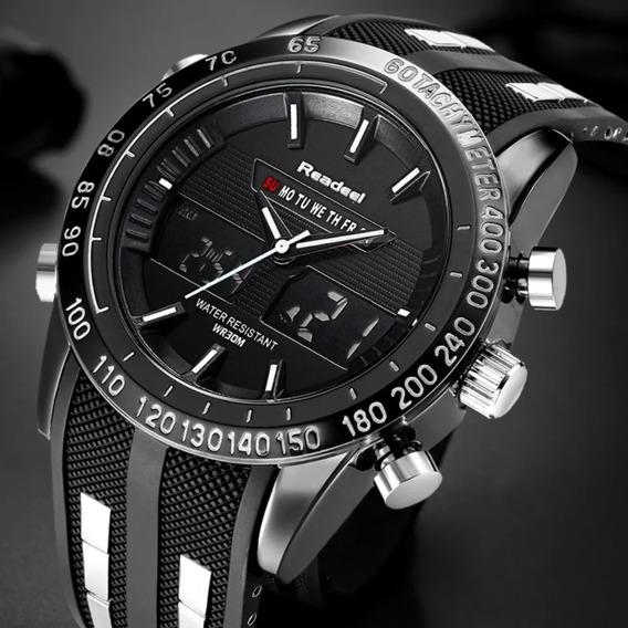 Relógio Readeel Masculino Original Mostrador Duplo Digital Led Militar Multifuncional