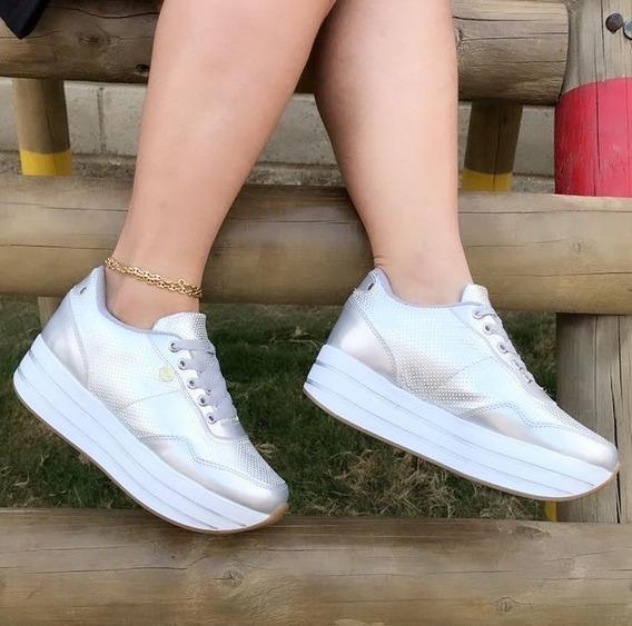 Zapato Tenis Deportivo De Dama Plateados Moda Casual