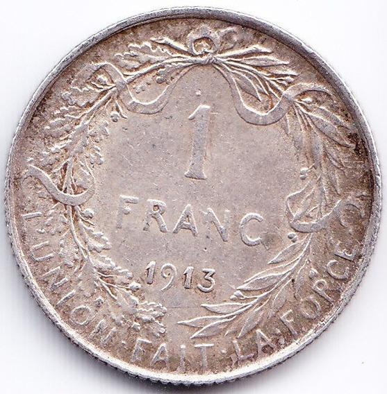 Belgica Moneda De 1 Franco 1913 De Plata Km 72 Xf