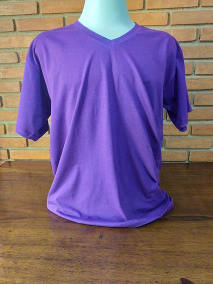 Camisetas Lisa Gola V Algodão Fio 30.1 Penteado Kit C/ 6 Pçs