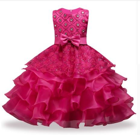 8560f7e0f Vestido Festa Infantil Babado Princesa Casamento Aniversário - R$ 119,90 em  Mercado Livre