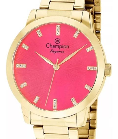 Relógio Champion Feminino Dourado Cn25261j Original + Nf