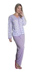 Kit 2 Pijama Feminino Longo Blusa Aberta Botão Calça Inverno