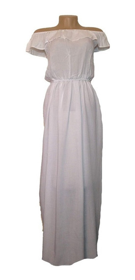 Vestido Feminino Ombro Ombro Longo Babado Casual - Verão