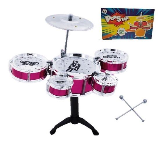 Mini Bateria Musical Infantil Jazz Drum, Tambor, Baquetas