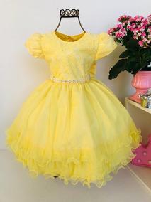 Vestido Infantil Menina Bonita Amarelo Princesa
