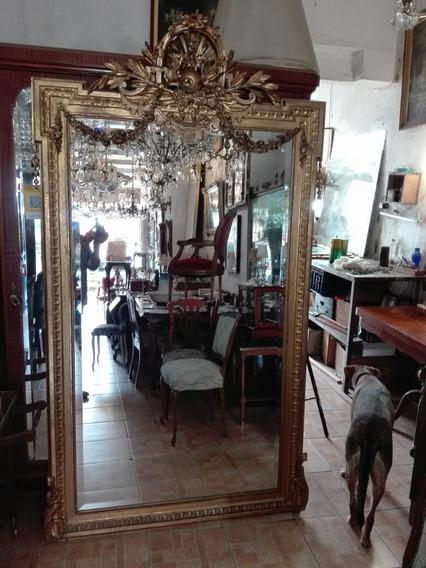 Antiguo Espejo Frances Dorado A La Hoja Sala Comedor