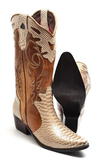 Bota Feminina Country Texana Bico Fino Couro Montaria
