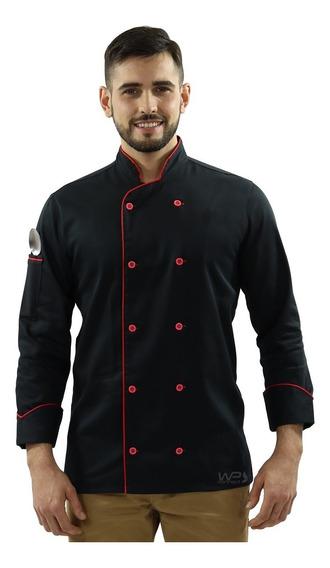 Dolmã Chef Cozinha, Cozinheiro, Unissex Preto/vermelho Sushi