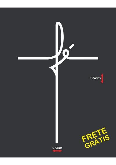Adesivo Fé Escrita Cruz Grande Frete Grátis Para Todo Brasil