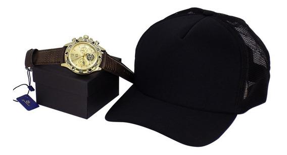 Kit Relógio Masculino Pulseira De Couro + Boné Justin Bieber