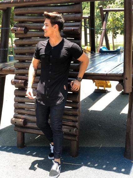 Camisa Botao Masculina Longline Camiseta Blusas
