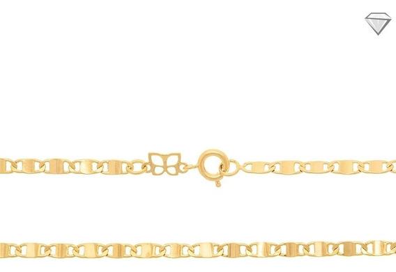 Cordão Rommanel Folheado Ouro 18k Navete Liso Bonito 531305