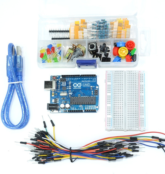 Kit Arduino Uno + Protoboard + Jumper + Leds / Mercado Full