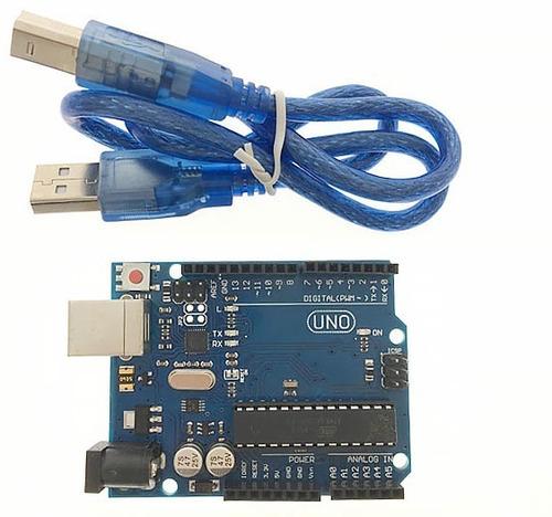 Imagen 1 de 4 de Uno R3 Atmega328p Dip Con Cable Comp. Arduino Itytarg