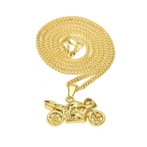 Colar Cordão Motocicleta Folhedo Ouro Moto Corrente
