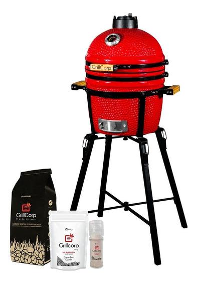 Kamado Mini Rojo Con Pack Sal Y Carbón