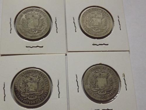 Monedas De Plata. Dos (2) Bs Bolívares. Años 1900 A 1965