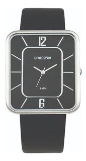 Reloj Prototype Hombre,fondo Color Negro,estilo Slim,50m.