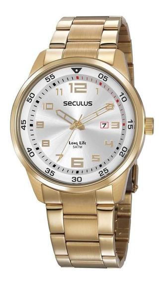 Relógio Seculus Masculino Ref: 20802gpsvda1 Casual Dourado