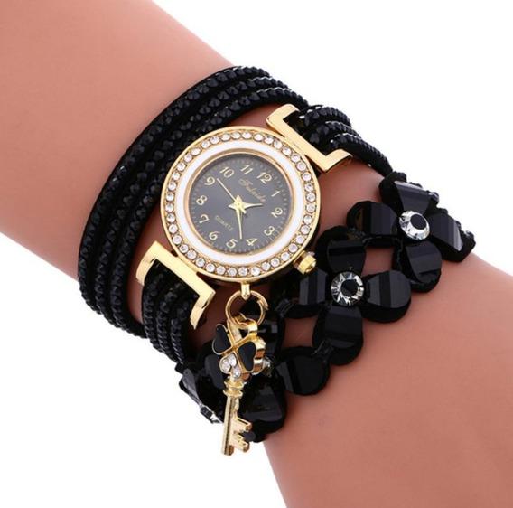Relógio Feminino Pulseira Pingente Chave Dourado Promoção