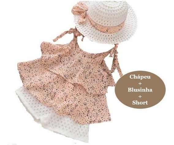 Conjunto Blusa Short Chapéu Infantil Menina Criança