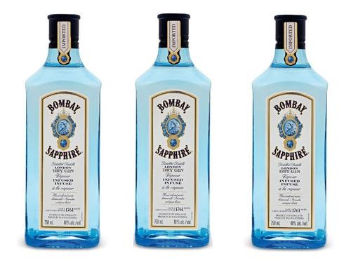 Pack 3 Unidades Gin Bombay Sapphire 750ml /original Sellado