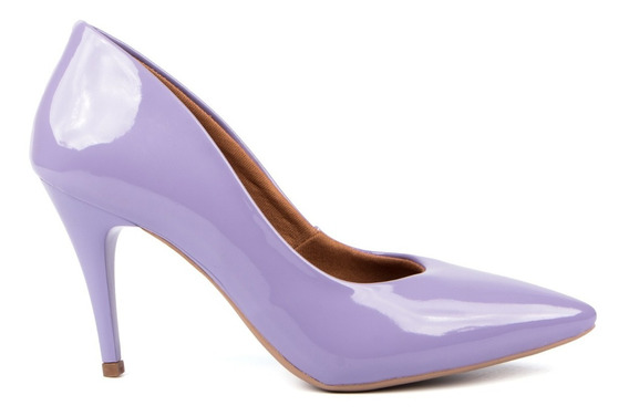 Scarpin Factor Fashion Salto Médio 8cm Verniz - Coleção 2020