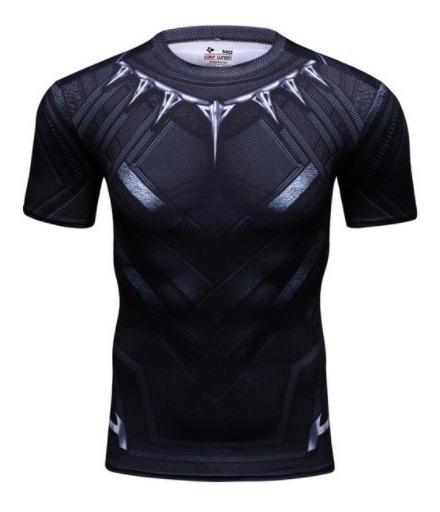 Camisa Pantera Negra Manga Curta - Slim Compressão Cosplay