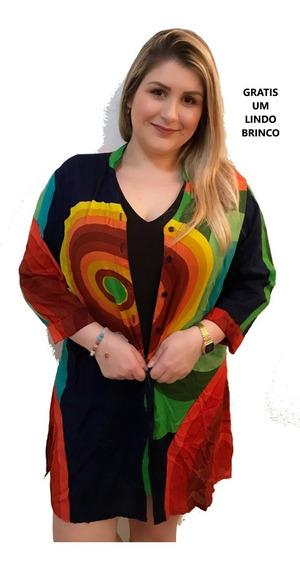 Saída De Praia Camisao Blusa Plus Size Colorida Gratis Brinc